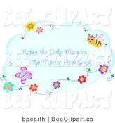 Vector Clip Art of Notice the Daily Miracles No Matter How Small Cloud with Bugs and Flowers on a Blue Cloud by Bpearth
