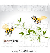 Vector Clip Art of Teamwork Bees and White Blossoms on a Branch over Gray by