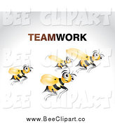 Vector Clip Art of Teamwork Bees Flying over Gray by