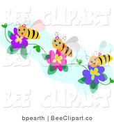 Vector Clip Art of Three Happy Honey Bees Collecting Pollen from Purple and Pink Flowers by