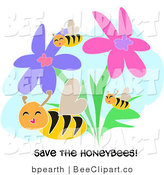 "Vector Clip Art of Three Yellow Honey Bees Flying Through Pink and Purple Flowers with ""Save the Honeybees!"" Text by"