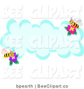 Vector Clip Art of Two Honey Bees with Flowers on a Blank Cloud with Text Space by