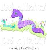 Vector Clip Art of Two Snakes Slitering in Grass by