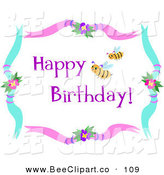 Vector Clip Art of Yellow Bees and Happy Birthday Text in a Floral FrameYellow Bees and Happy Birthday Text in a Floral Frame by