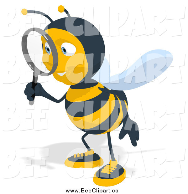 Cartoon Clip Art of a Bee Facing Left and Using a Magnifying Glass
