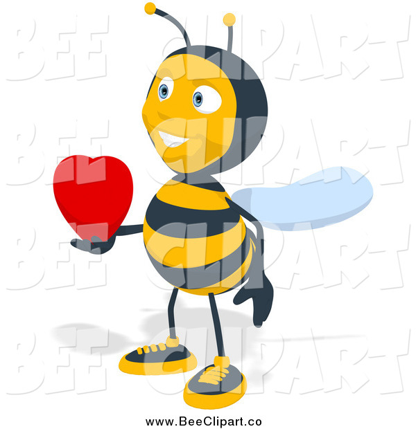 Cartoon Clip Art of a Bee Holding a Heart out