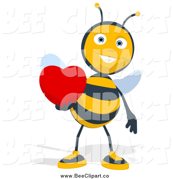 Cartoon Clip Art of a Bee Holding a Red Heart