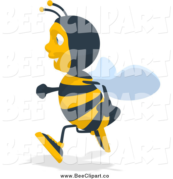 Cartoon Clip Art of a Bee Running to the Left