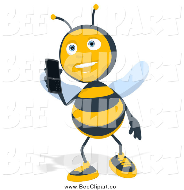 Cartoon Clip Art of a Bee Talking on a Mobile Phone