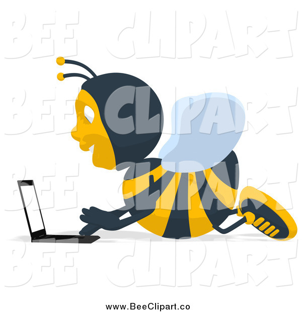 Cartoon Clip Art of a Bee Using a Lapotp on the Floor
