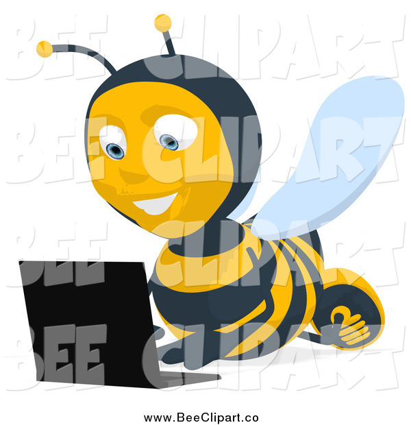 Cartoon Clip Art of a Bee Using a Laptop on the Floor