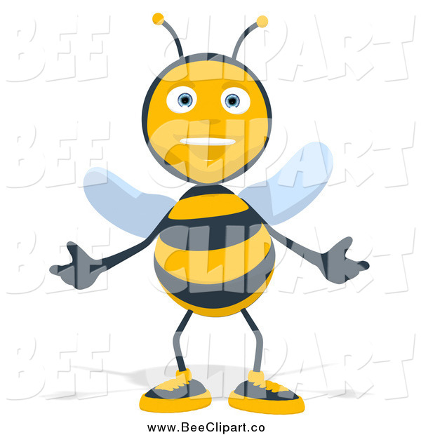 Cartoon Clip Art of a Bee Welcoming