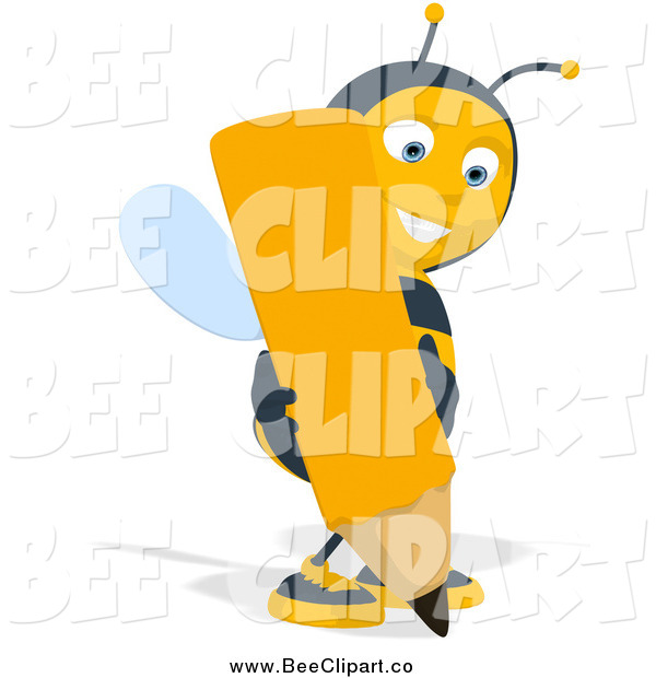 Cartoon Clip Art of a Bee Writing with a Giant Pencil