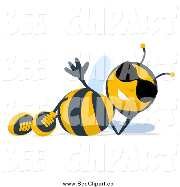Cartoon Clip Art of a Cartoon Bee Wearing Sunglasses and Reclining