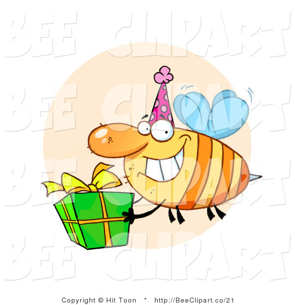 Cartoon Clip Art of a Grinning Yellow Honey Bee with a Stinger, Wearing a Pink Party Hat and Carrying a Green and Yellow Birthday Present to a Bday Party