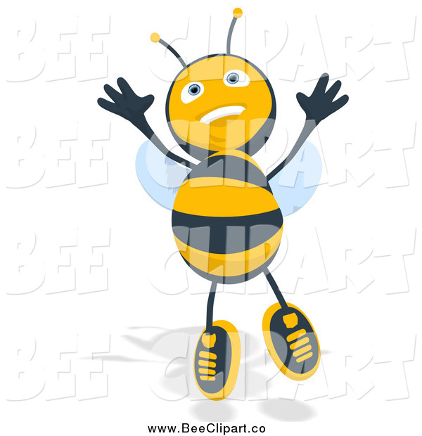 Cartoon Clip Art of a Happy Bee Jumping