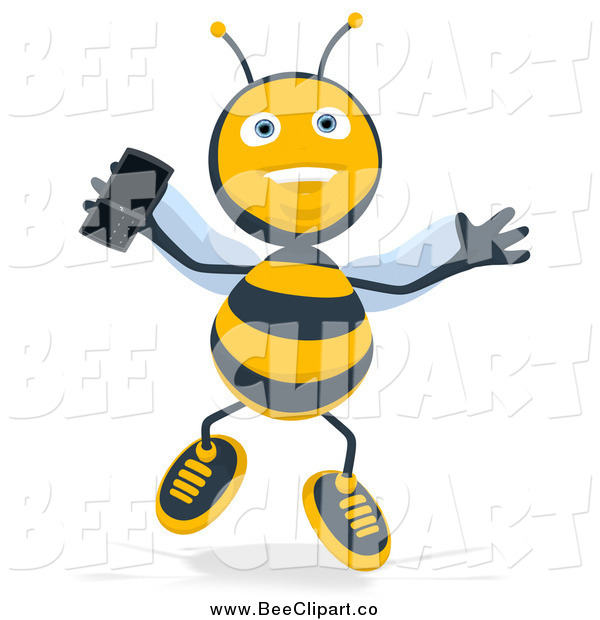 Cartoon Clip Art of a Happy Bee Jumping with a Mobile Phone