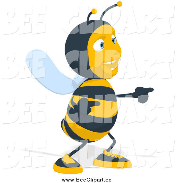 Cartoon Clip Art of a Happy Bee Pointing and Dancing