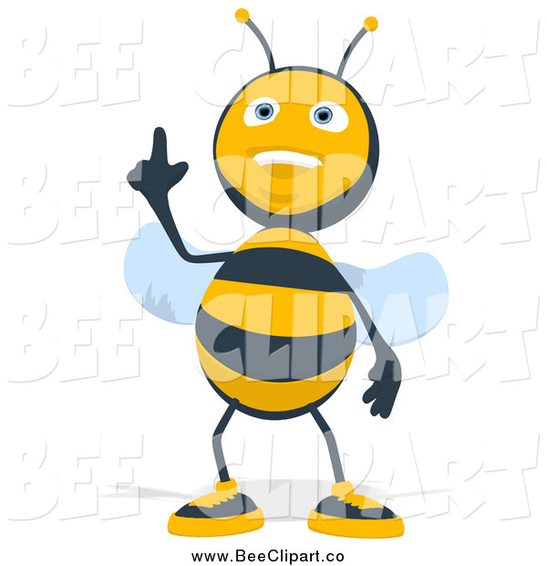 Cartoon Clip Art of a Happy Bee Pointing up