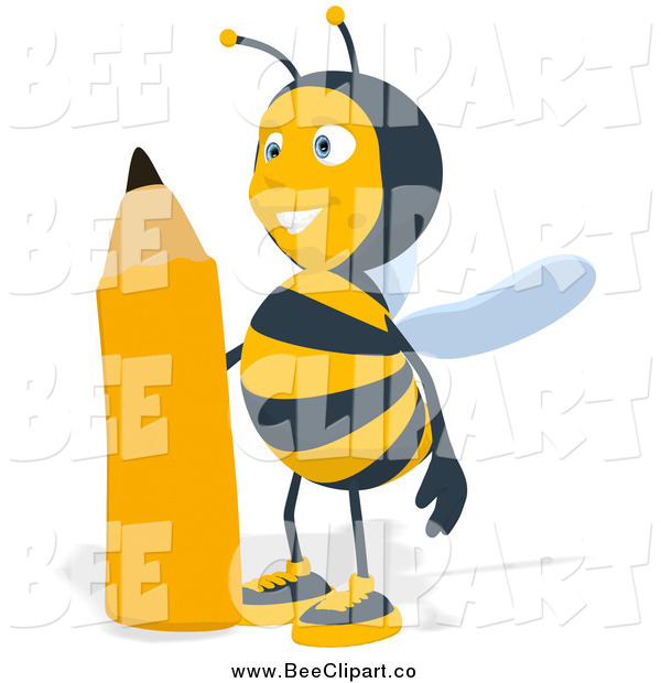 Cartoon Clip Art of a Happy Bee Standing by a Pencil, Facing Slightly Left
