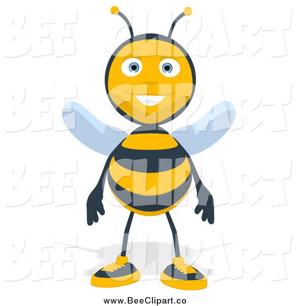 Cartoon Clip Art of a Happy Bee Standing