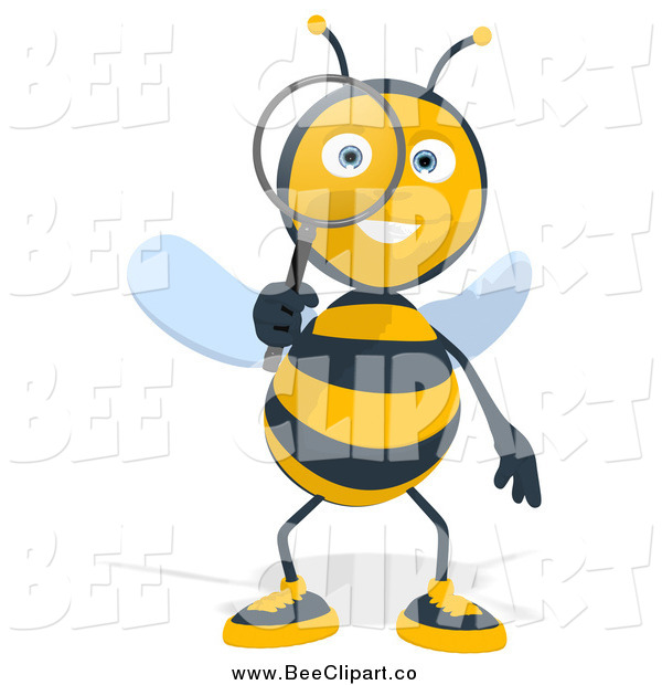 Cartoon Clip Art of a Happy Bee Using a Magnifying Glass