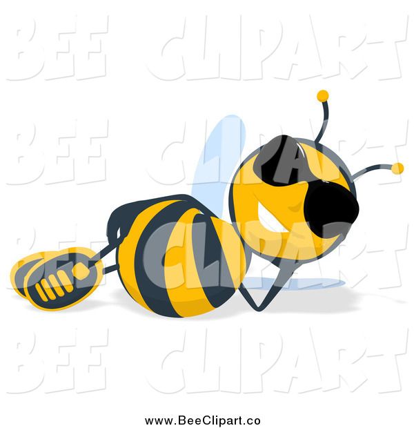 Cartoon Clip Art of a Relaxed Bee in Sunglasses