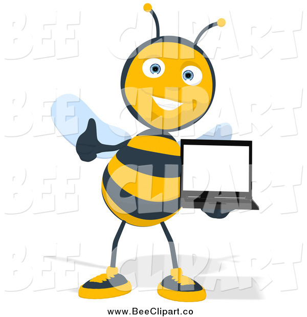 Cartoon Clip Art of a Thumbs up Bee Holding a Laptop