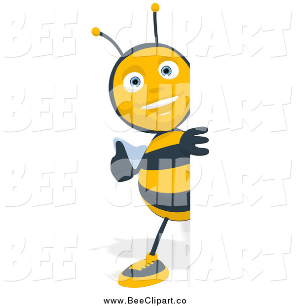 Cartoon Clip Art of a Thumbs up Bee Looking Around a Sign