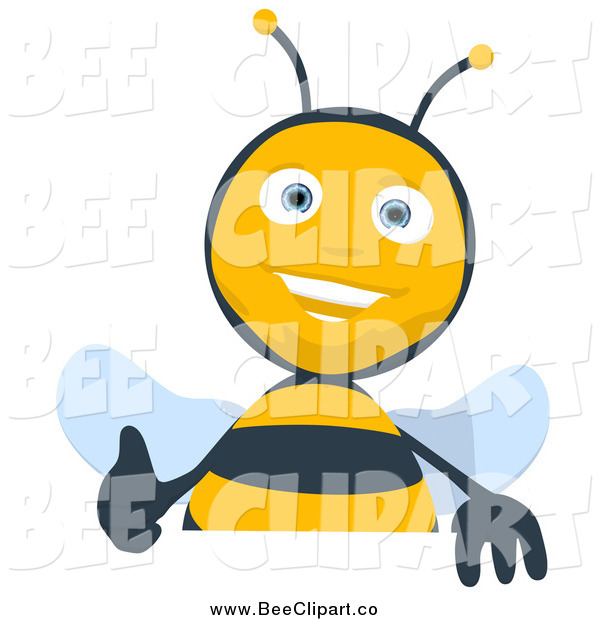 Cartoon Clip Art of a Thumbs up Bee over a Blank Sign