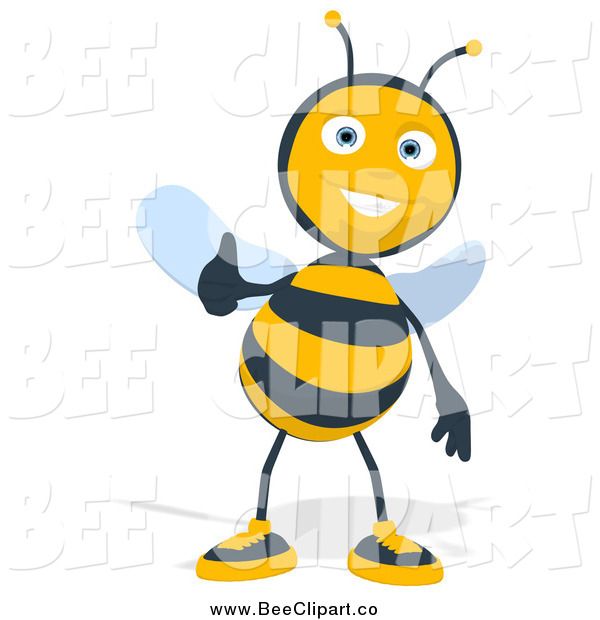 Cartoon Clip Art of a Thumbs up Happy Bee