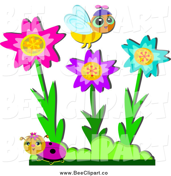 Cartoon Vector Clip Art of a Bee and Ladybug with Colorful Flowers in a Garden