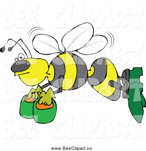 Cartoon Vector Clip Art of a Bee Flying with Honey Buckets