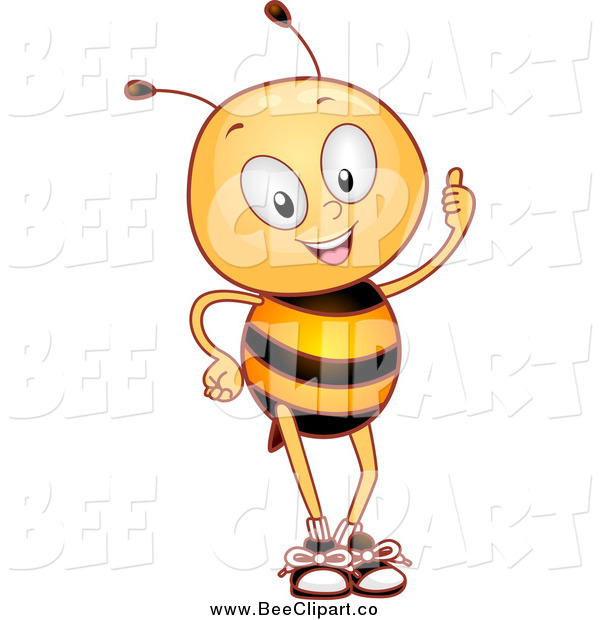 Cartoon Vector Clip Art of a Bee Holding a Thumb up