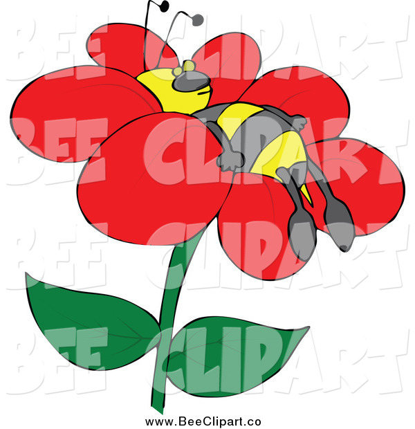 Cartoon Vector Clip Art of a Bee Napping on a Flower