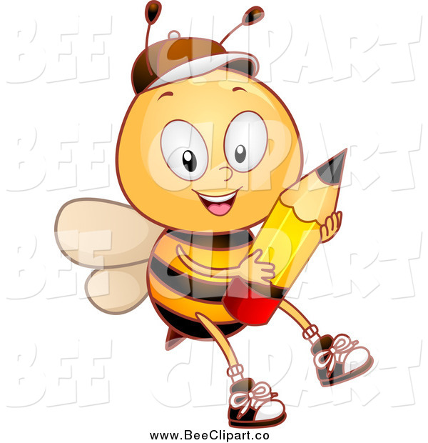 Cartoon Vector Clip Art of a Bee Student Boy Holding a Pencil