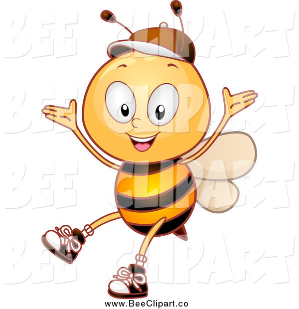 Cartoon Vector Clip Art of a Bee Student Cheering