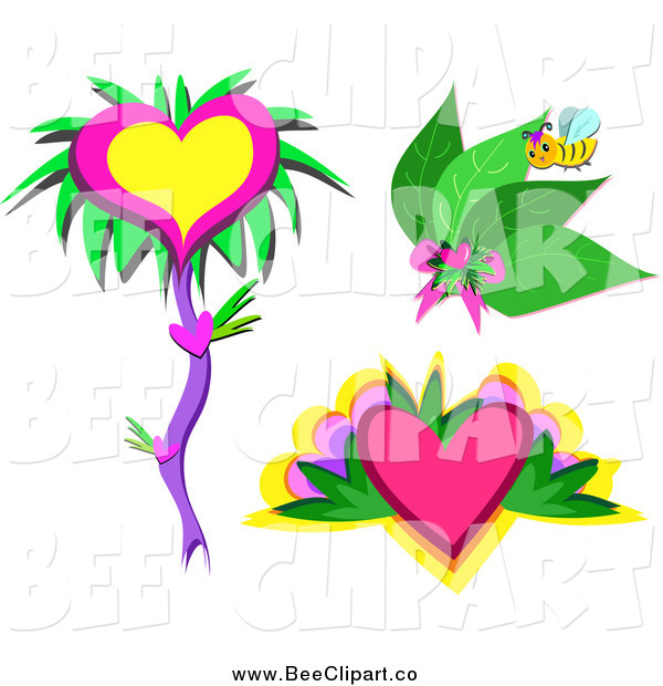 Cartoon Vector Clip Art of a Bee with Leaves and Hearts