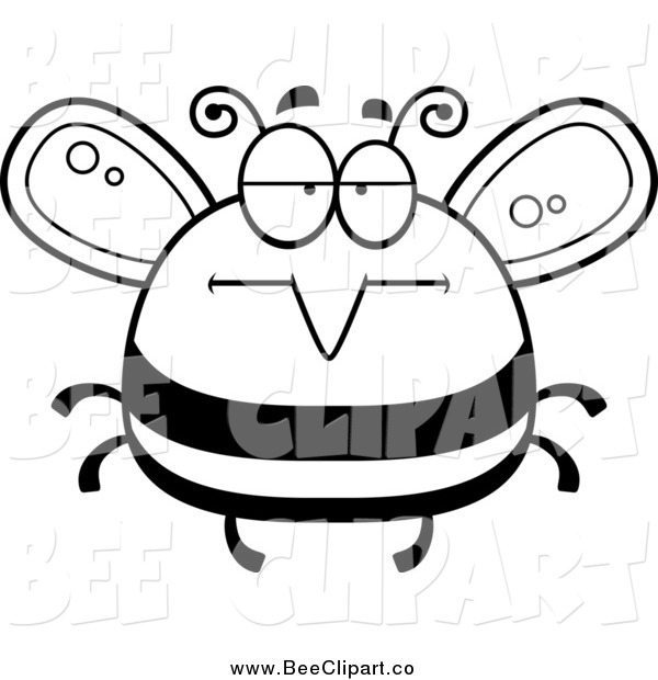 Cartoon Vector Clip Art of a Black and White Bored Bee