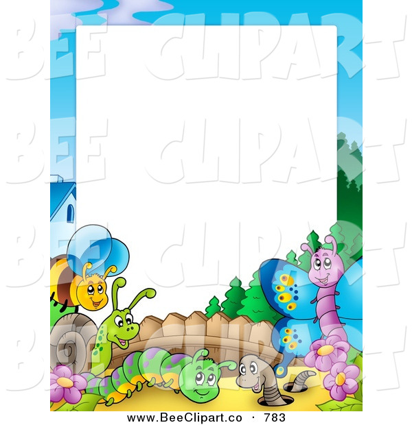 Cartoon Vector Clip Art of a Border of Happy Insects in a Garden Around Blank White Space
