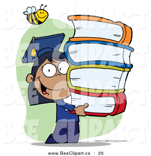 Cartoon Vector Clip Art of a Bumblebee over a Hispanic Graduate School Girl Carrying a Stack of Books
