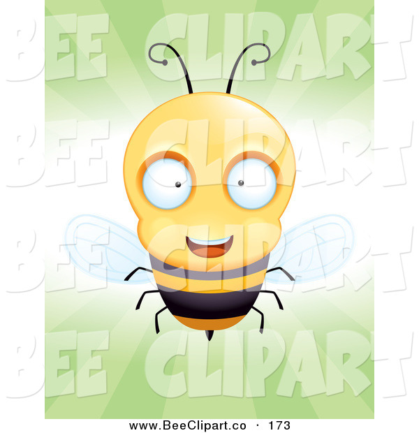 Cartoon Vector Clip Art of a Cheerful Little Bee Flying Forward, over Green