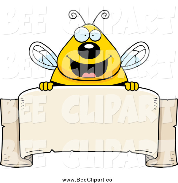 Cartoon Vector Clip Art of a Chubby Happy Bee over a Blank Parchment Banner