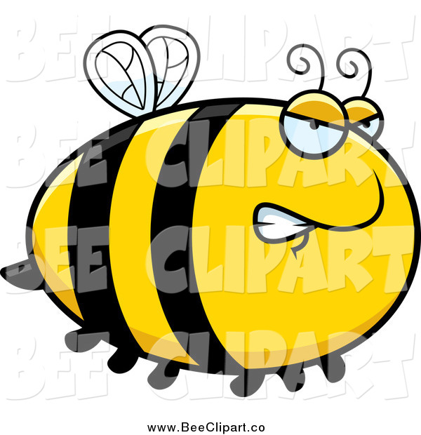 Cartoon Vector Clip Art of a Chubby Mad Bee