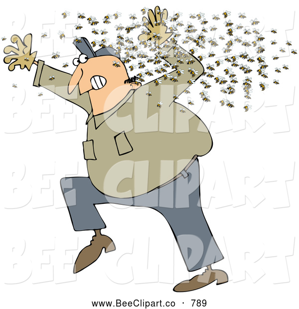 Cartoon Vector Clip Art of a Chubby White Man Running Away from a Swarm of Bees - Coloring Page Outline