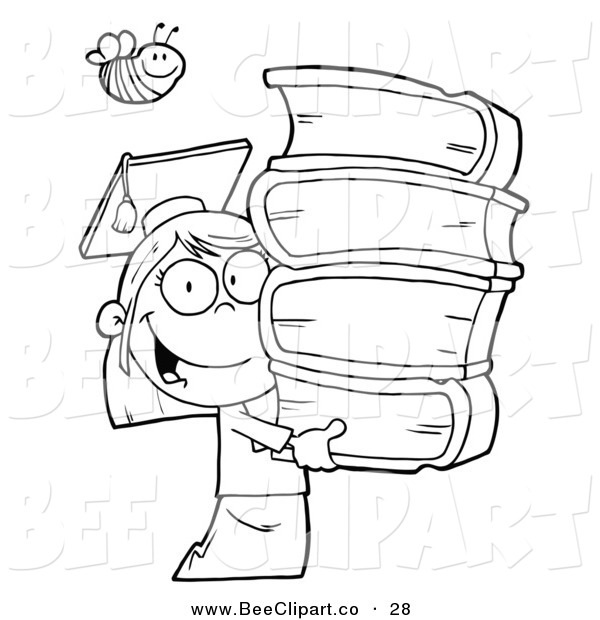 Cartoon Vector Clip Art of a Coloring Page Bee over an Outlined Graduate School Girl Carrying a Stack of Books