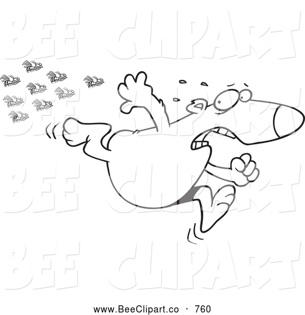 Cartoon Vector Clip Art of a Coloring Page of a Bear Fleeing from Bees
