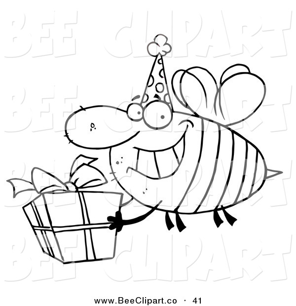 Cartoon Vector Clip Art of a Coloring Page of a Birthday Bee