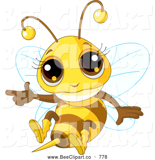 Cartoon Vector Clip Art of a Cute Baby Honey Bee Flying and Pointing