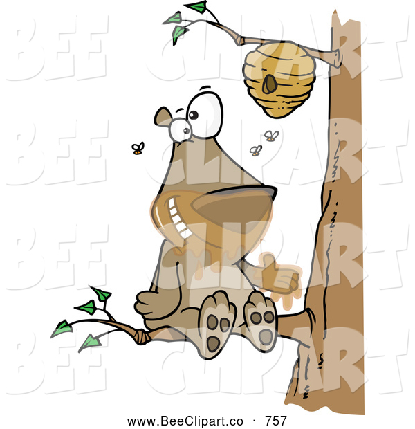 Cartoon Vector Clip Art of a Cute Cartoon Bear Sitting on a Branch and Getting Honey